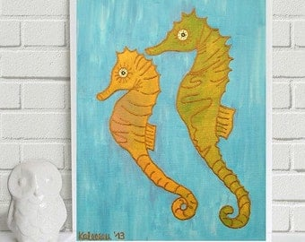 "Bruce and Lee the Sea Horse Couple - original collage/painting, 9.8 x 11.8"", 25 x 30 cm, acrylics, canvas, animal, sea, ocean, nature"