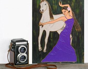 Passion... original painting, 11.8x15.7, 30x40 cm, acrylic, canvas, flamenco, spanish culture, fantasy
