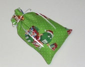 Christmas Gift Bags - 4 Green Candy -  Reusable Eco-Friendly Cotton Fabric