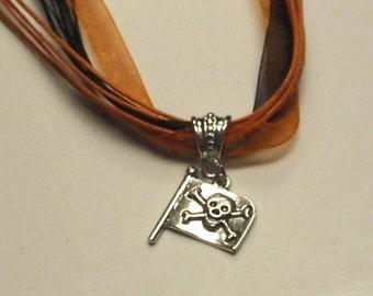 Halloween pirate flag necklace - orange black neck cords