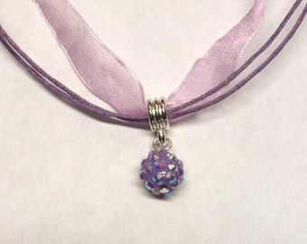 Purple ball charm necklace - purple neck cord