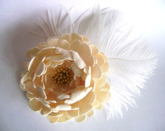 Bridal Hair Fascinator Ivory Peony Wedding Flower Hair Clip