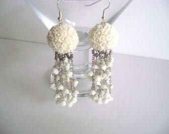 Wedding Jewelry. Bridal Earrings.White Flower Earrings