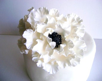 White Poppy Cake Topper Flower Cake Topper Clay Wedding Cake Decor Wedding cake topper Flower Made to Order