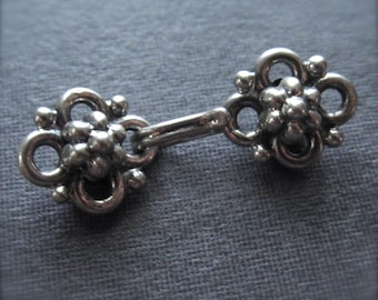 Solid sterling silver - Bali Style hook and eye clasp - small - oxidized 25mm X 9mm