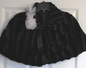 Black/Black Mink Faux Fur Capelet/Cape Fully Lined/Shawl with Ribbon Ties/ Formal-Wedding/Junior BridesMaid