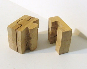 Cube Puzzle Made Of Maple Wood