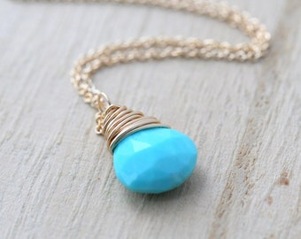 Sleeping Beauty Turquoise Necklace, Gold Filled Gemstone Necklace, Gemstone Solitaire Pendant