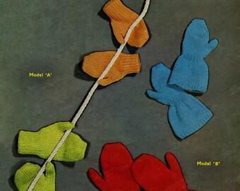 Vintage Children's Mittens for 2 to 8yrs, Knitting Pattern, 1960 (PDF) Pattern, Sirdar 681