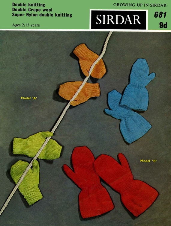 Vintage Children's Mittens for 2 to 8yrs, Knitting Pattern, 1960 (PDF) Pattern, Sirdar 681