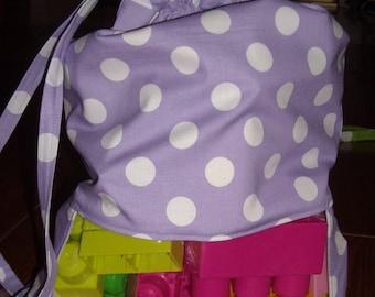 Purple polka dot peek a boo toy sack