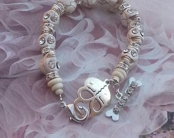 Bohemian Gypsy Rhinestone Skull Bracelet