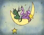 Fantastical Moon Art Print  Unicorn and Dragon 8 x 10 Print, Kids Artwork, Baby Boy,  Fantasy Nursery Decor