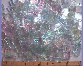 Mosaic Tiles TEXTURED IRRIDESCENT CLEAR Handcut Stained Glass 25 Mosaic Tile
