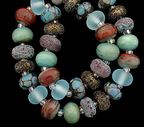 Lampwork Beads Patterned Beads Glass Beads Statement Necklace Jewelry Sets Bead Necklace Beaded Bracelet Supplies Debbie Sanders Beading