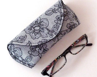 Eyeglass Case - Sunglasses Case - Floral - Black and Gray - Magnetic - Teacher Gifts - Gift for Reader