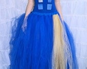 Royal Blue and Gold Doctor Who Inspired TARDIS Formal Wedding Skirt Adult Medium MTCoffinz - Ready to Ship
