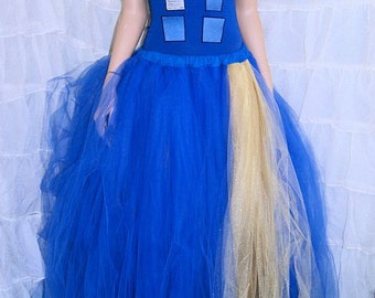 Royal Blue and Gold Doctor Inspired Police Box Formal Wedding Skirt All Sizes MTCoffinz
