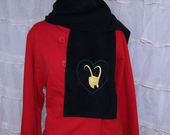 Loki Love Golden Horned Helmet Embroidered Black Fleece Scarf MTCoffinz