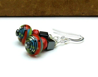Coral Lime Lampwork Beaded Dangle Earrings, Modern Bright Lampwork Earrings, For Her Under 75