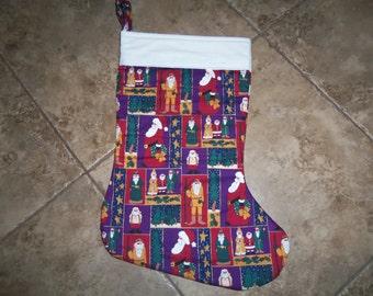 New  Vintage Santa Oversized christmas stocking Primitive Hanging Quilted Christmas Stocking Free Personalization Purple
