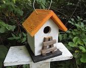 Primitive Chickadee Birdhouse White and Orange Handmade Ladder