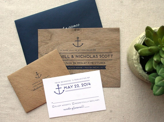 Nautical Real Wooden Wedding Invitation Anchor Navy Wedding