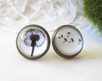 Dandelion Mismatched Antique Brass Post Earrings