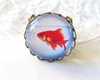 Goldfish Bowl Antique Brass Adjustable Ring