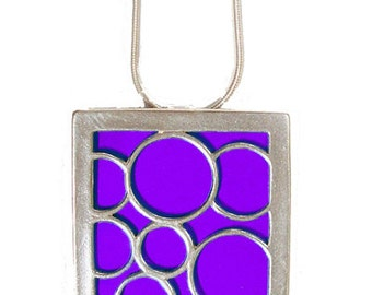 recycled aluminum\/silver Purple Large square bubble pendant