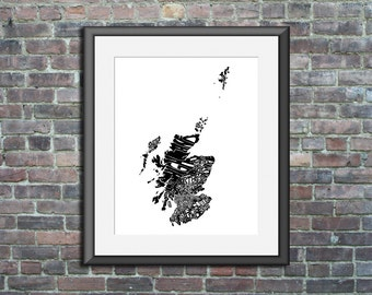 typography map art print - Scotland - 5x7 - customizable country poster custom wedding engagement graduation gift anniversary wall art decor