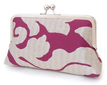 Clutch bag purse, wedding bag, bridesmaid gift, bridal clutch, gift box, RASPBERRY RIPPLE