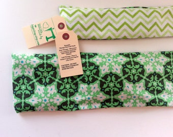 RELAXATION THERAPY: Therapy Eye Pillow/Neck Wrap Set Hot/Cold Therapy Microwaveable LAVENDER Rice Flaxseed Amy Butler Daisy Chain Green