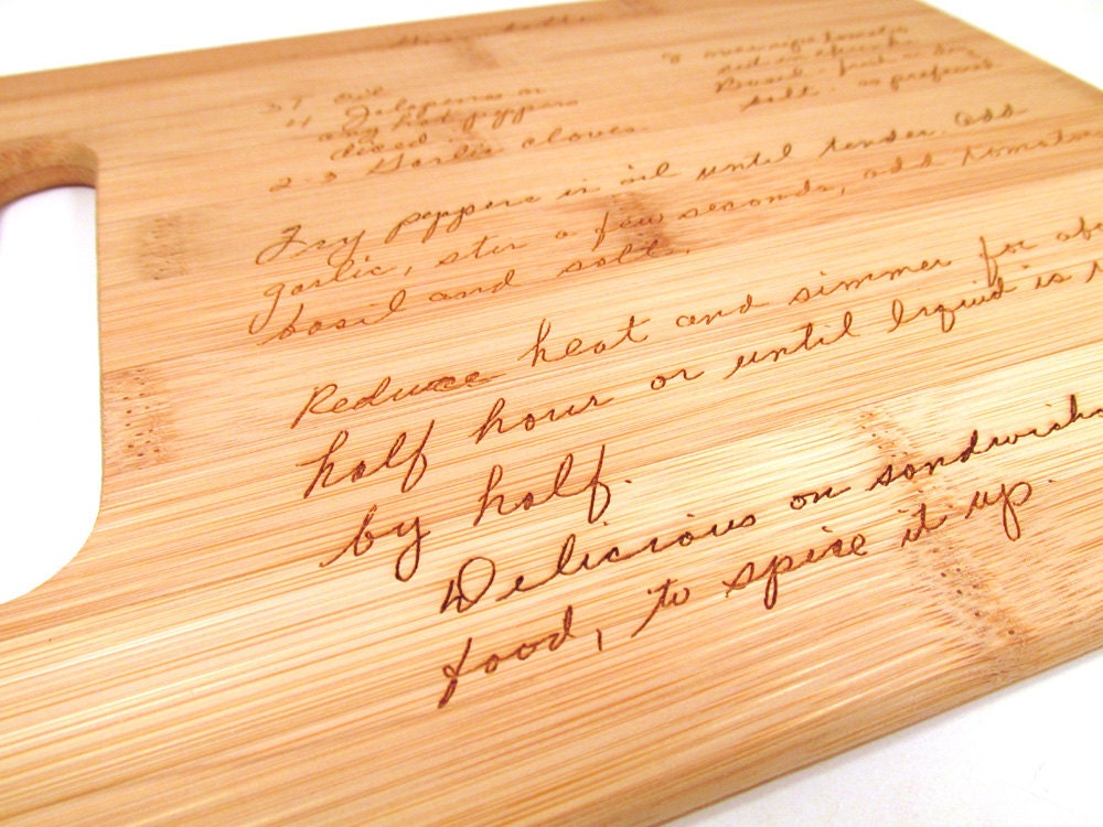 Handwritten Engraved Cutting Board Personalized Bamboo
