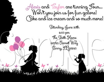 25 5x7 Silhouette Birthday Party Invitations