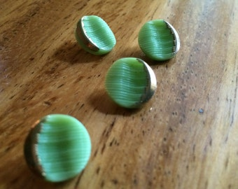 Green Glass Vintage Buttons - Four/ 1930s Buttons / 1940s Buttons / Vintage Glass Buttons / Vintage Sewing Notions / Vintage Sewing Supplies