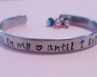 Custom hand stamped aluminum Memorial bracelet cuff - I'll hold you in my heart until I hold you in Heaven mother daughter sister friend