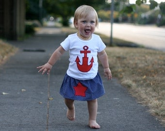 AHOY MISSY - Shirt, Skirt Combo - Sizes 6mos thru girls 9/10
