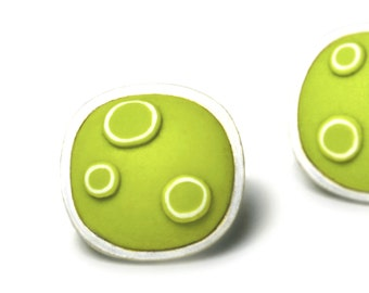 Sterling silver and polymer earrings. Wasabi green post earrings.