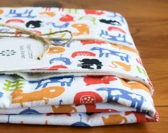 Organic Baby Blanket in FARMYARD, Multi-color Farm Animals and Tractors Baby Blanket Gift, Organic Receiving Blanket, Handmade (Last One)