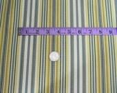 Fabric Remnant Cotton Duck, Stripe, Blue, Cream, Yellow, Gray 26 Inches