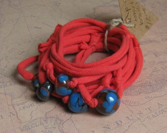 Red Knotty Upcycled T-Shirt Bracelet with Coral and Blue Lampwork Glass Beads