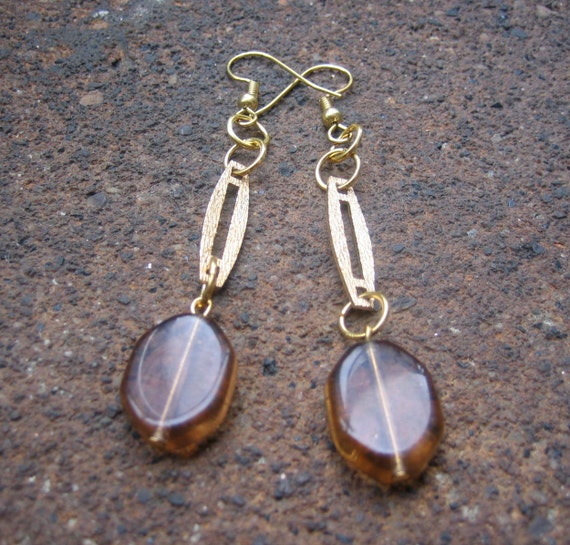 Park Slope Dangle Earrings - Recycled Vintage Brushed Metal and Brown Glass Beads (Eco-Friendly)