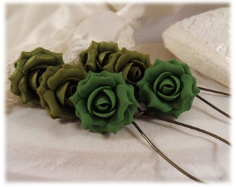 Vintage Style Olive Green Rose Earrings - Olive Green Rose Dangle or Drop Earrings, Olive Green Rose Jewelry