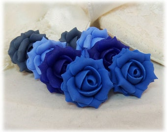 Blue Rose Earrings Stud or Clip On - Blue Rose Jewelry Collection, Blue Flower Earrings