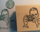 Say Cheese photo rubber stamp wood mounted P34