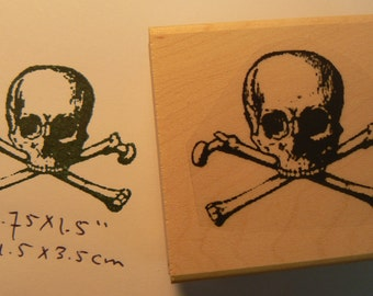 Skull and cross bones rubber stamp WM P6