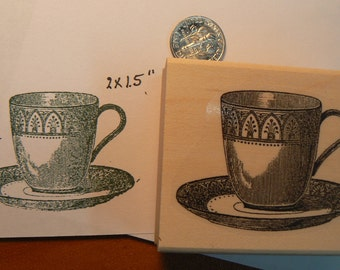 Teacup rubber stamp  P35