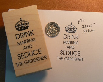 Drink Martinis rubber stamp WM P21