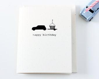 Mini Car Happy Birthday Card